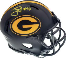 Jordan Love Autographed Green Bay Packers Black Eclipse Speed Mini Helmet Beckett BAS Stock #177054