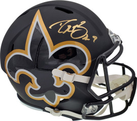 Drew Brees Autographed New Orleans Saints AMP Full Size Speed Replica Helmet In Gold Beckett BAS Stock #177122