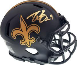 Drew Brees Autographed New Orleans Saints Black Eclipse Speed Mini Helmet Beckett BAS Stock #177125