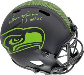 """Warren Moon Autographed Seattle Seahawks Black Eclipse Full Size Speed Replica Helmet """"HOF 06"""" MCS Holo Stock #177129"""