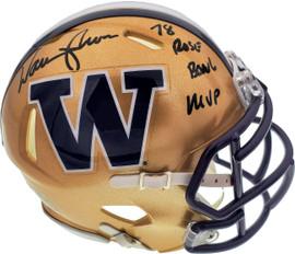"Warren Moon Autographed Washington Huskies Speed Mini Helmet ""78 Rose Bowl MVP"" MCS Holo Stock #177130"