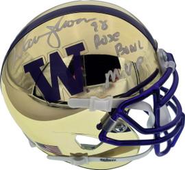 "Warren Moon Autographed Washington Huskies Gold Chrome Mini Helmet ""78 Rose Bowl MVP"" MCS Holo Stock #177131"