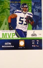 Malcolm Smith Autographed 13x14.5 Photo Seattle Seahawks Super Bowl XLVIII Fanatics Holo Stock #177454