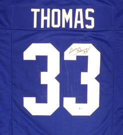 Dallas Cowboys Duane Thomas Autographed Blue Jersey Beckett BAS Stock #177505