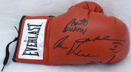 "Boxing Greats Autographed Red Everlast Boxing Glove With 3 Total Signatures Including Sugar Ray Leonard, Thomas ""Hitman"" Hearns & Roberto Duran RH Beckett BAS Stock #177568"