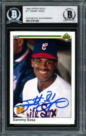 Sammy Sosa Autographed 1990 Upper Deck Rookie Card #17 Chicago White Sox Beckett BAS Stock #177679