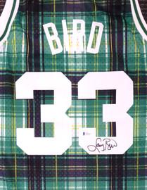 Boston Celtics Larry Bird Autographed Green Mitchell & Ness Private School Swingman Jersey Size L Beckett BAS Stock #177706