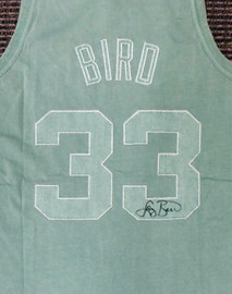 Boston Celtics Larry Bird Autographed Green Mitchell & Ness Washed Out Swingman Jersey Size L Beckett BAS Stock #177710