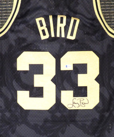Boston Celtics Larry Bird Autographed Black Mitchell & Ness Gold Toile Swingman Jersey Size M Beckett BAS Stock #177714