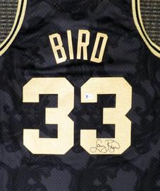 Boston Celtics Larry Bird Autographed Black Mitchell & Ness Gold Toile Swingman Jersey Size L Beckett BAS Stock #177715