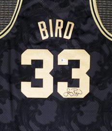 Boston Celtics Larry Bird Autographed Black Mitchell & Ness Gold Toile Swingman Jersey Size XL Beckett BAS Stock #177716
