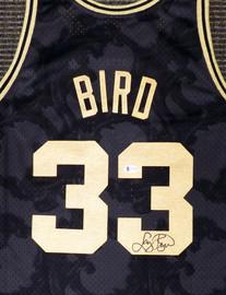 Boston Celtics Larry Bird Autographed Black Mitchell & Ness Gold Toile Swingman Jersey Size XXL Beckett BAS Stock #177717