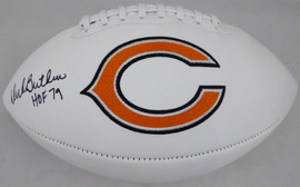 "Dick Butkus Autographed Chicago Bears White Logo Football ""HOF 79"" Beckett BAS Stock #177842"