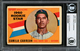 """Camilo """"Cam"""" Carreon Autographed 1960 Topps Rookie Card #121 Chicago White Sox Beckett BAS #12305955"""
