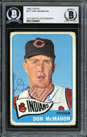 Don McMahon Autographed 1965 Topps Card #317 Cleveland Indians Beckett BAS #12306067