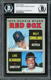Luis Alvarado & Billy Conigliaro Autographed 1970 Topps Rookie Card #317 Boston Red Sox Beckett BAS #12306192