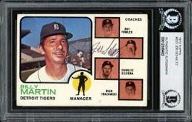 Joe Schultz Autographed 1973 Topps Card #323 Detroit Tigers Beckett BAS #12306463