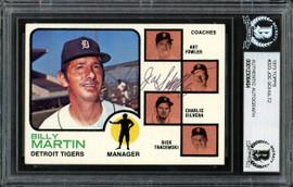 Joe Schultz Autographed 1973 Topps Card #323 Detroit Tigers Beckett BAS #12306464