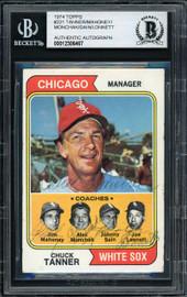 Chuck Tanner, Jim Mahoney, Alex Monchak, Johnny Sain & Joe Lonnett Autographed 1974 Topps Card #221 Chicago White Sox Beckett BAS #12306467