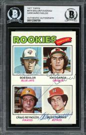 Alex Taveras, Kiko Garcia, Craig Reynolds & Bob Bailor Autographed 1977 Topps Rookie Card #474 Beckett BAS #12306709
