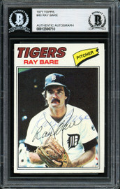 Ray Bare Autographed 1977 Topps Card #43 Detroit Tigers Beckett BAS #12306710