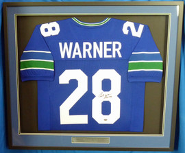 """Seattle Seahawks Curt Warner Autographed Framed Blue Jersey """"ROH 94"""" MCS Holo Stock #177851"""