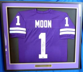 "Washington Huskies Warren Moon Autographed Framed Purple Jersey ""78 Rose Bowl MVP"" MCS Holo Stock #177850"