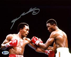 """Sugar Ray Leonard Autographed 8x10 Photo vs. Thomas """"Hitman"""" Hearns Beckett BAS Stock #178106"""