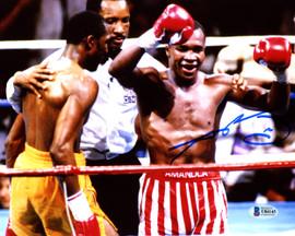 """Sugar Ray Leonard Autographed 8x10 Photo vs. Thomas """"Hitman"""" Hearns Beckett BAS Stock #178107"""