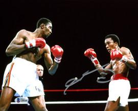 """Sugar Ray Leonard Autographed 8x10 Photo vs. Thomas """"Hitman"""" Hearns Beckett BAS Stock #178108"""