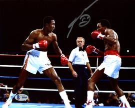 """Sugar Ray Leonard Autographed 8x10 Photo vs. Thomas """"Hitman"""" Hearns Beckett BAS Stock #178109"""