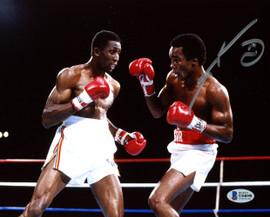 """Sugar Ray Leonard Autographed 8x10 Photo vs. Thomas """"Hitman"""" Hearns Beckett BAS Stock #178111"""