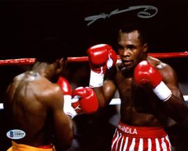 """Sugar Ray Leonard Autographed 8x10 Photo vs. Thomas """"Hitman"""" Hearns Beckett BAS Stock #178113"""