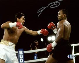 Sugar Ray Leonard Autographed 8x10 Photo vs. Roberto Duran Beckett BAS Stock #178117