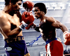 Sugar Ray Leonard Autographed 8x10 Photo vs. Augustin Estrada Beckett BAS #U84485