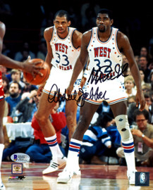 Magic Johnson & Kareem Abdul-Jabbar Autographed 8x10 Photo Los Angeles Lakers Becket BAS Stock #178308