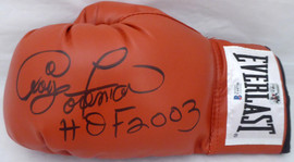 "George Foreman Autographed Red Everlast Boxing Glove LH Signed In Black ""HOF 2003"" Beckett BAS Stock #178338"