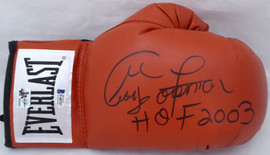 "George Foreman Autographed Red Everlast Boxing Glove RH Signed In Black ""HOF 2003"" Beckett BAS Stock #178339"