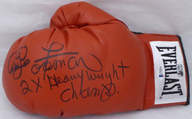 "George Foreman Autographed Red Everlast Boxing Glove LH Signed In Black ""2X Heavyweight Champ"" Beckett BAS Stock #178340"