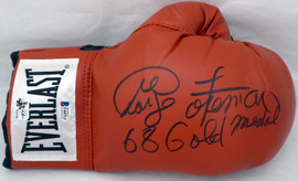 "George Foreman Autographed Red Everlast Boxing Glove RH Signed In Black ""68 Gold Medal"" Beckett BAS Stock #178345"