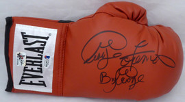 "George Foreman Autographed Red Everlast Boxing Glove RH Signed In Black ""Big George"" Beckett BAS Stock #178346"