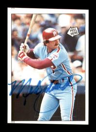 Mike Schmidt Autographed 1985 Topps Sticker Card #111 Philadelphia Phillies SKU #178453