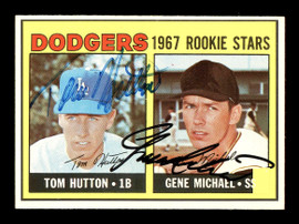Gene Michael & Tom Hutton Autographed 1967 Topps Rookie Card #428 Los Angeles Dodgers SKU #178504