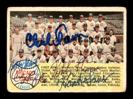 Chuck Tanner, Bobby Schantz, Bobby Thomson, Hank Sauer & Andy Pafko Autographed 1958 Topps Card #327 Chicago Cubs SKU #178609