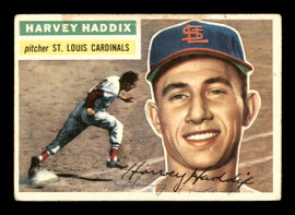 Harvey Haddix Autographed 1956 Topps Card #77 St. Louis Cardinals SKU #178626