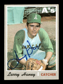 Larry Haney Autographed 1970 Topps Card #648 Oakland A's SKU #178668