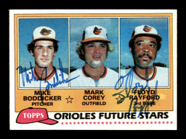 Mike Boddicker & Floyd Rayford Autographed 1981 Topps Rookie Card #399 Baltimore Orioles SKU #178774