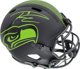 Russell Wilson Autographed Seattle Seahawks Eclipse Black Full Size Speed Replica Helmet In Green RW Holo Stock #178955
