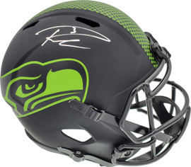 Russell Wilson Autographed Seattle Seahawks Eclipse Black Full Size Speed Replica Helmet In Silver RW Holo Stock #178956