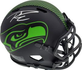 Russell Wilson Autographed Eclipse Black Seattle Seahawks Speed Mini Helmet In Silver RW Holo Stock #178961